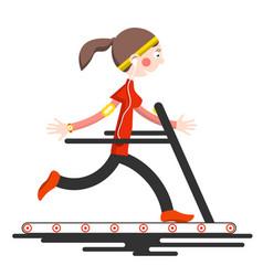 running woman on conveyor belt flat design sport vector image vector image