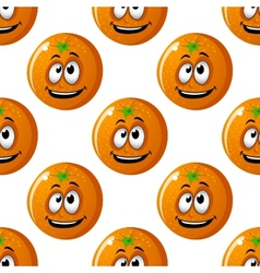 Seamless background pattern of cartoon oranges vector image vector image