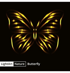 Butterfly silhouette of lights on black background vector image vector image