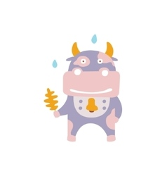 Violet cow wearing bell with oak leaf under rain vector