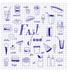 fast food sketch vector image vector image