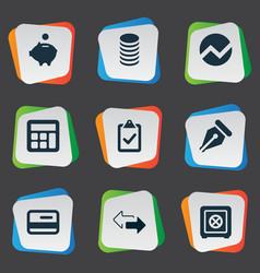 set of simple financial icons vector image vector image