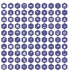 100 microscope icons hexagon purple vector