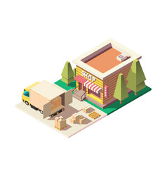 3d isometric urban truck delivery boxes to store vector image