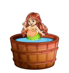 A fat mermaid taking bath vector