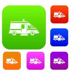 Ambulance set collection vector