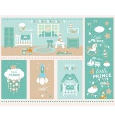 Baboy nursery and playroom interior vector
