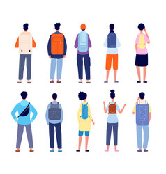 backpackers characters travelling equipment vector image
