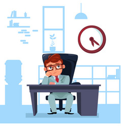business man boss sit at office desk looking at vector image