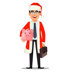 business man in santa claus costume vector image