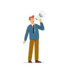 Businessman shouting using megaphone isolated on vector