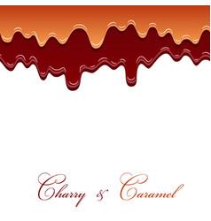 caramel sauce and cherry jam seamless pattern 3d vector image