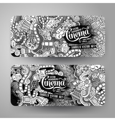 Cartoon doodles cinema banners vector image
