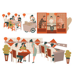 Chinese restaurant customers and waitress eatery vector