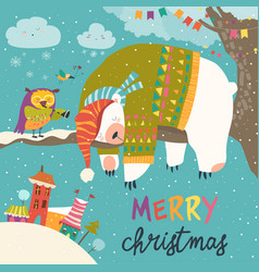 christmas card with sleeping polar bear vector image