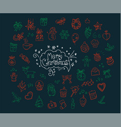 christmas doodle elements vector image