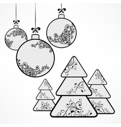 Christmas ornament ball tree vector image
