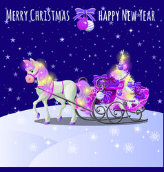 Christmas sketch with animated horse with a pink vector