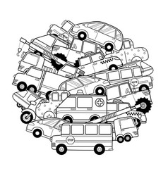 circle shape coloring page with doodle vehicles vector image