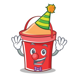 clown bucket character cartoon style vector image