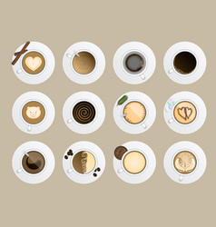 Coffe cup top view realistic drink vector