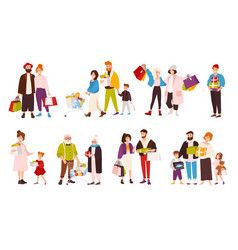 collection happy people carrying their vector image