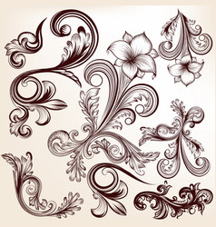 collection of hand drawn swirls in vintage style vector image