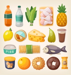 Colorful products icons vector image