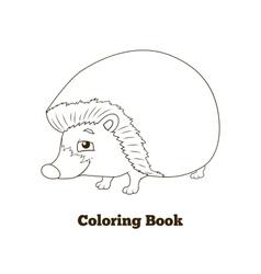 Coloring book forest animal hedgehog cartoon vector image