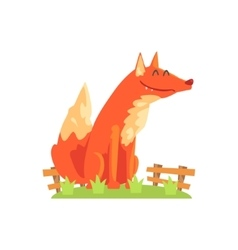 Common Red Fox With Fluffy Coat Standing On Green vector
