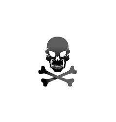 creative black skeleton bones skull logo design vector image
