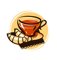 Cup of tea and croissant tea party drink dessert vector