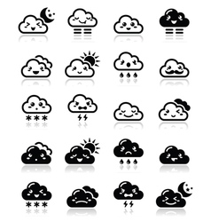 Cute cloud - Kawaii Manga black icons with differ vector image