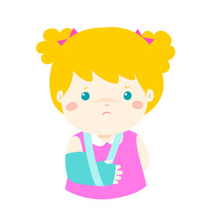 Cute girl hand bone broken from accident with arm vector