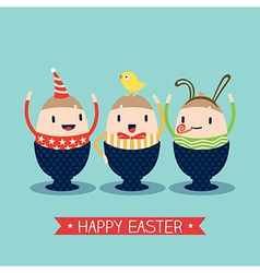 Cute happy easter egg cartoon vector