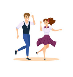 Dancing couple swing dancers vector