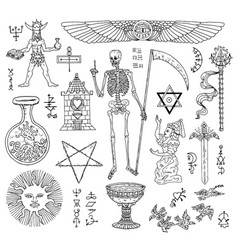 Design set with mystic objects vector