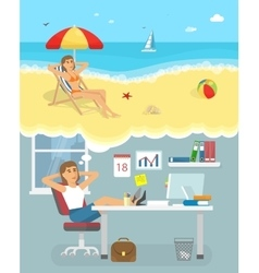 Dreaming About Holiday Poster vector image