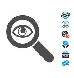 Eye explore flat icon with free bonus elements vector