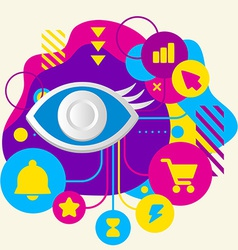 Eye on abstract colorful spotted background with vector
