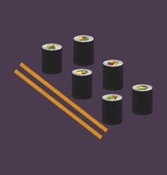 Flat shading style icon sushi and sticks vector