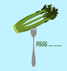 fork with onion healthy food concept vector image