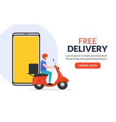 Free delivery boy phone service delivery man food vector