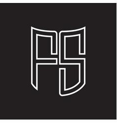 fs logo monogram with ribbon style outline design vector image