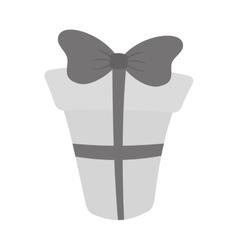Gift box with ribbon gray color vector