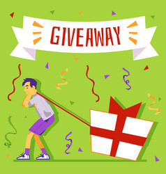 Giveaway banner with man pulling gift bo flat vector