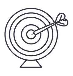 goal target with arrow line icon sign vector image