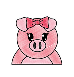 Grated adorable female pig cute animal vector