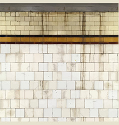 Grunge tiled subway wall background vector