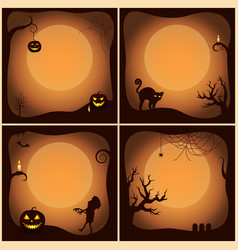 halloween posters collection vector image